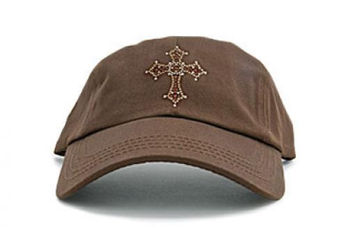 Dolly Mama: Ladies Baseball Hat - Cross on Chocolate