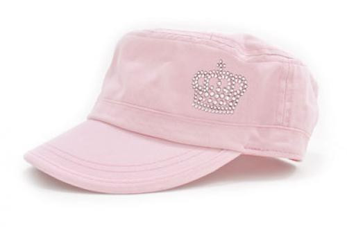 Dolly Mama: Ladies Fidel Military Cap - Crown on Pink