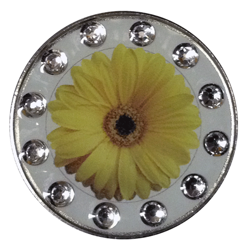 BELLA Swarovski Crystal Exchange Ball Marker & Hat Clip - Daisy Yellow Clear