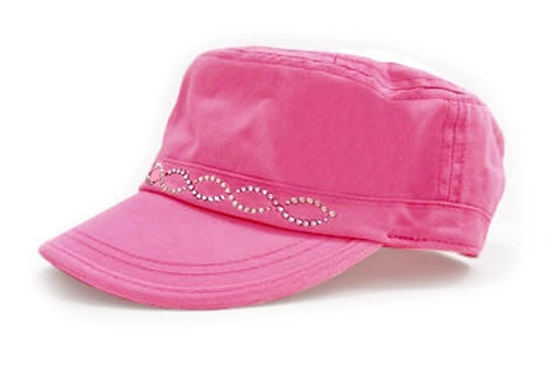 Dolly Mama: Ladies Fidel Military Cap - Crystal Chain on Pink