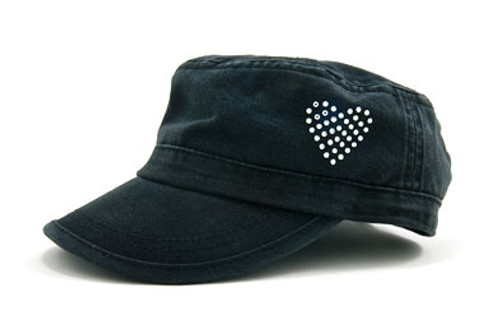 Dolly Mama: Ladies Fidel Military Cap - Heart on Black