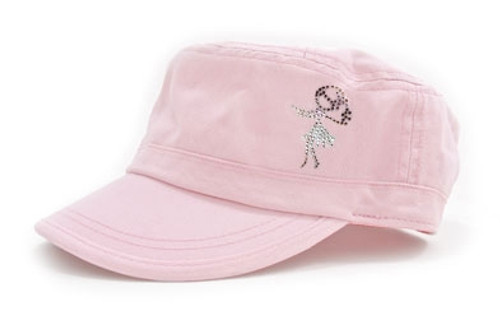 Dolly Mama: Ladies Fidel Military Cap - Hula Girl on Pink