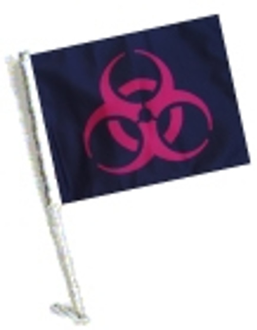 SSP Flags: Car Flag with Pole - Biohazard Red
