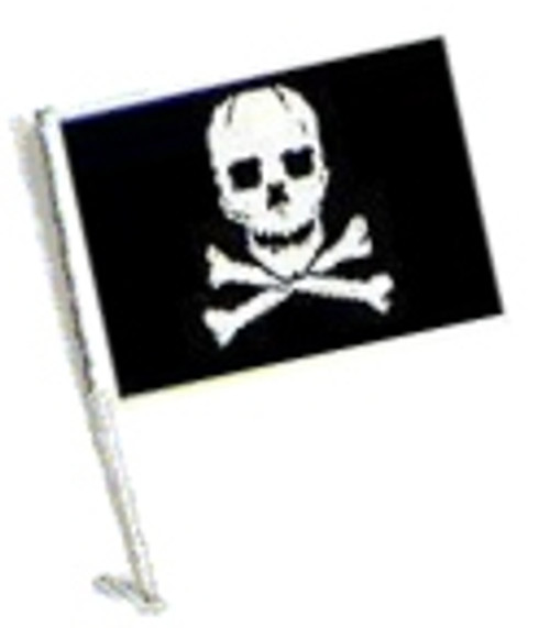 SSP Flags: Car Flag with Pole - Pirate Skull and Cross Bones
