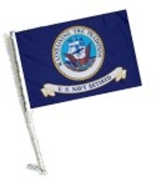 SSP Flags:  Car Flag with Pole - Retired Navy
