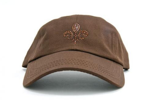 Dolly Mama: Ladies Baseball Hat - Fleur de Lis on Chocolate