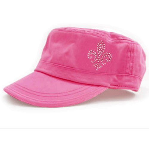 Dolly Mama Ladies Fidel Military Cap - Fleur De Lis on Pink
