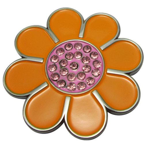 ReadyGolf - Hippie Flower Ball Marker & Hat Clip with Crystals - Orange with Pink