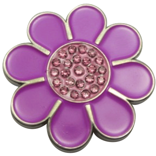ReadyGolf: Hippie Flower Ball Marker & Hat Clip with Crystals - Purple with Pink