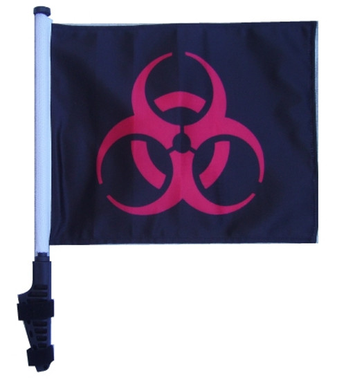 SSP Flags: 11x15 inch Golf Cart Flag with Pole - Biohazard Red