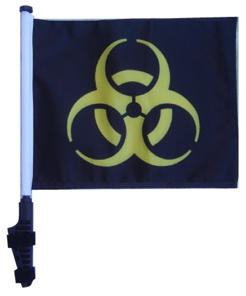 SSP Flags: 11x15 inch Golf Cart Flag with Pole - Biohazard Yellow