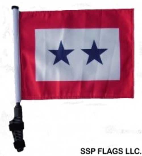 SSP Flags: 11x15 inch Golf Cart Flag with Pole - Two Blue Stars