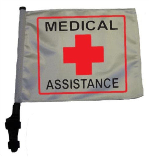 SSP Flags: 11x15 inch Golf Cart Flag with Pole - Medical Assistance
