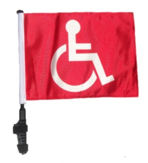 SSP Flags: 11x15 inch Golf Cart Flag with Pole - Red Handicap