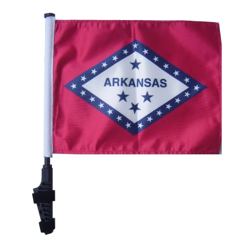 SSP Flags: 11x15 inch Golf Cart Flag with Pole - State of Arkansas