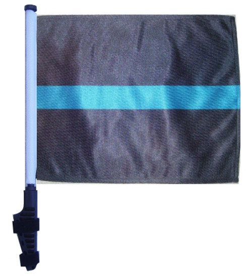SSP Flags: 11x15 inch Golf Cart Flag with Pole - Thin Blue Line