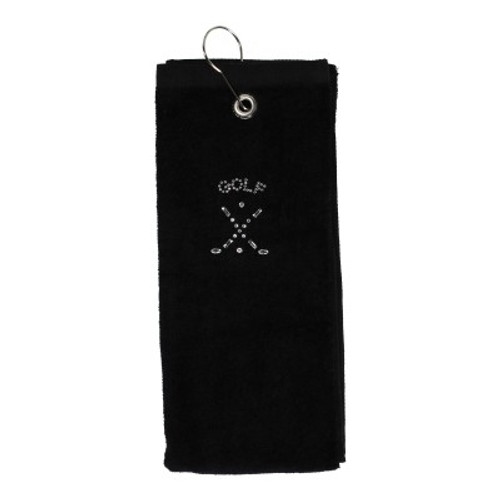 Dolly Mama Tri-Fold Golf Towel - Crossed Clubs Golf Design