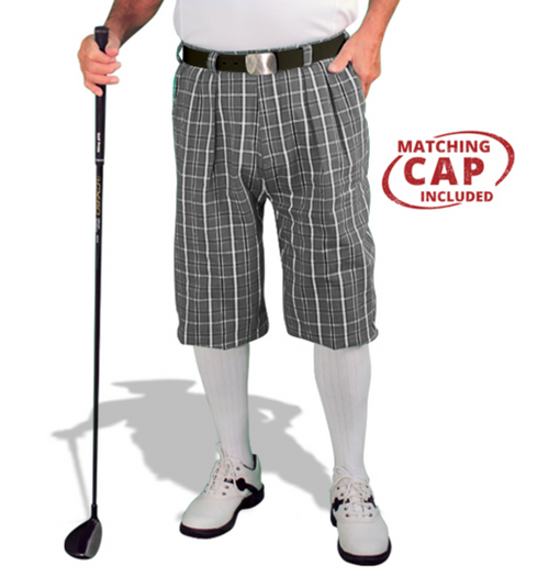 Golf Knickers: Men's 'Limited Edition' Plaid Golf Knickers & Cap  - Charcoal