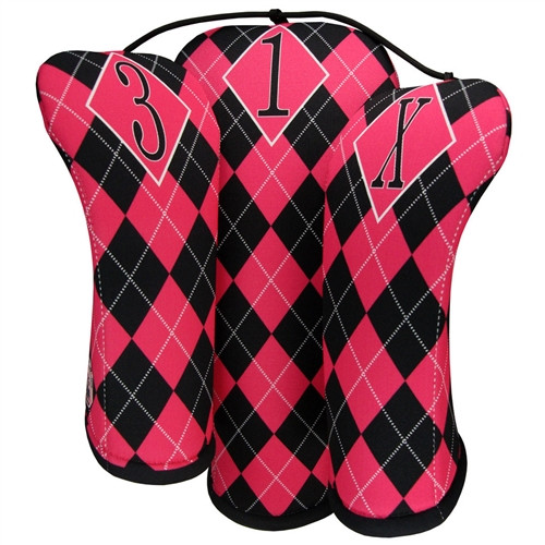 BeeJos: Golf Head Cover - Hot Pink and Black Argyle