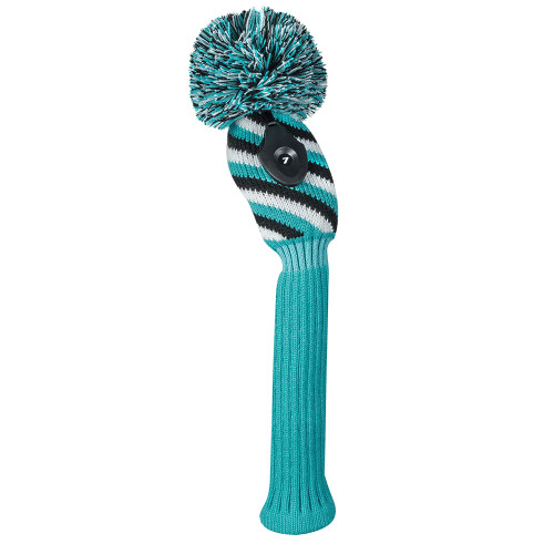 Just 4 Golf: Hybrid Headcover - 3 Color Diagonal Stripe - Turquoise Black and White