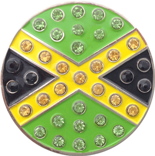 ReadyGolf: Jamaica Flag Ball Marker & Hat Clip with Crystals