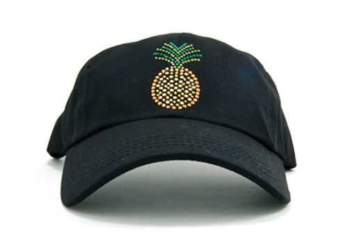 Pineapple on Black Ladies Baseball Hat by Dolly Mama a8ae68c9f743