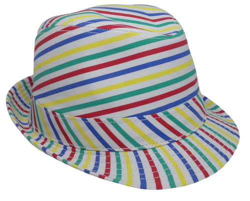 Bowl of Soup Fedora - Multi Colored Rainbow Striped