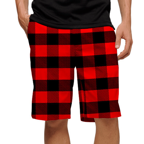 Loudmouth Golf: Men's Shorts - Red & Black Lumberjack