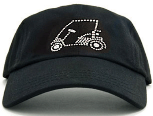 Dolly Mama Ladies Baseball Hat - Golf Cart on Black