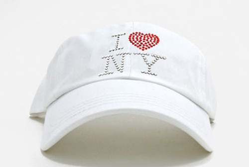 Dolly Mama Ladies Baseball Hat - I Love New York on White