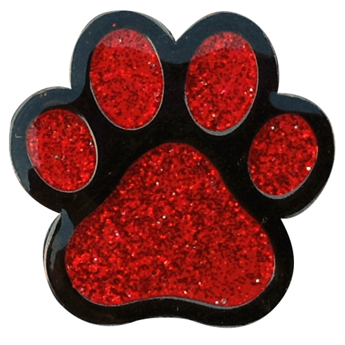 ReadyGolf: Glitter Ball Marker & Hat Clip - Paw Print (Red)
