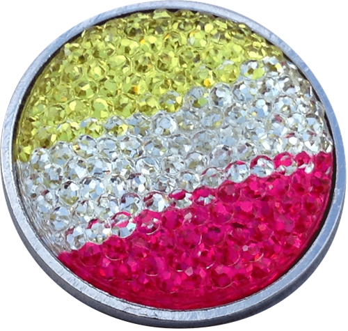 ReadyGolf: Rhinestone Crystal Ball Marker - Yellow, White & Red