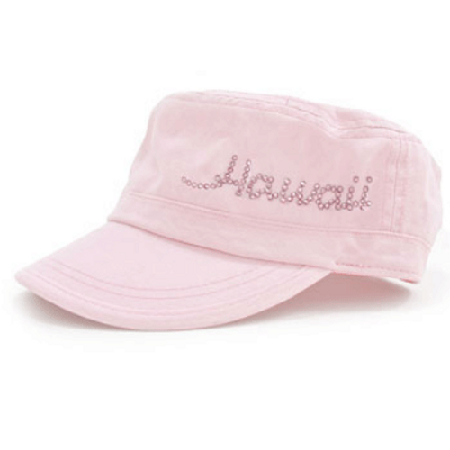 Dolly Mama Ladies Fidel Military Cap - Hawaii on Pink