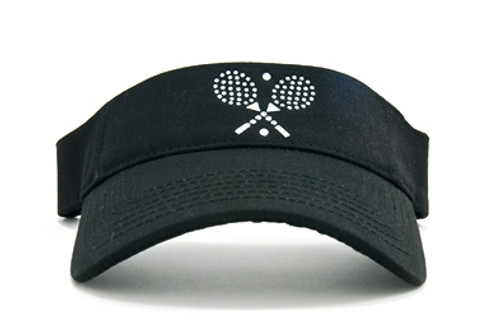 Dolly Mama Ladies Sporty Visor - Cross Tennis Rackets on Black