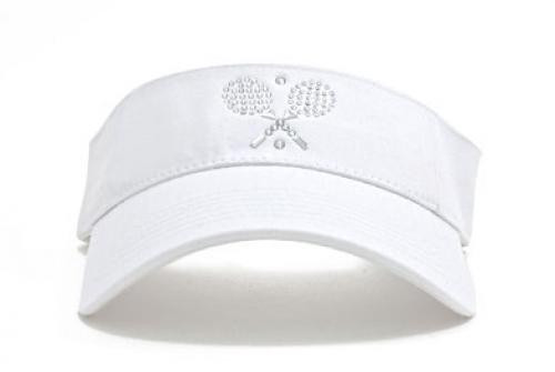 Dolly Mama Ladies Sporty Visor - Cross Tennis Rackets on Black Sporty-Visor-Rackets-White