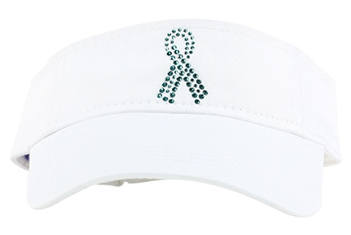 Dolly Mama Ladies Sporty Visor - Teal Ribbon on White