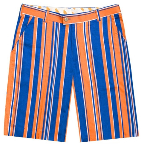 Loudmouth Golf: Men's Shorts - Orange & Blue Stripe*