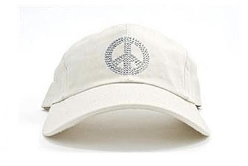 Dolly Mama Ladies Baseball Hat - Peace Sign on White