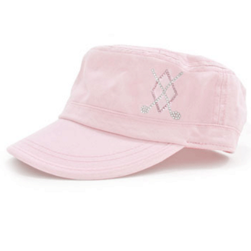 Dolly Mama Ladies Fidel Military Cap - Argyle Crossed Clubs on Pink