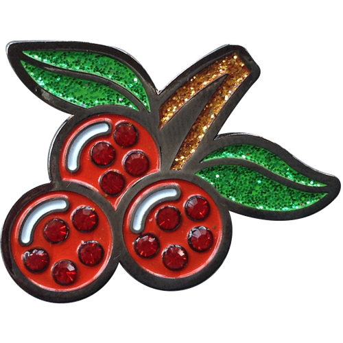 ReadyGolf: Slot Machine Cherries Ball Marker & Hat Clip with Crystals