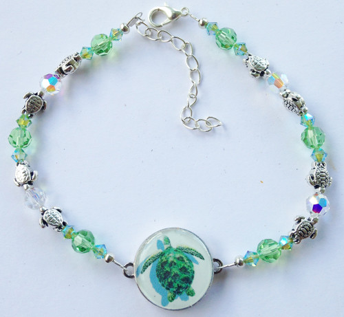 One Putt Designs - Save the Turtles Living In Peridot Swarovski Crystals #4SWPT
