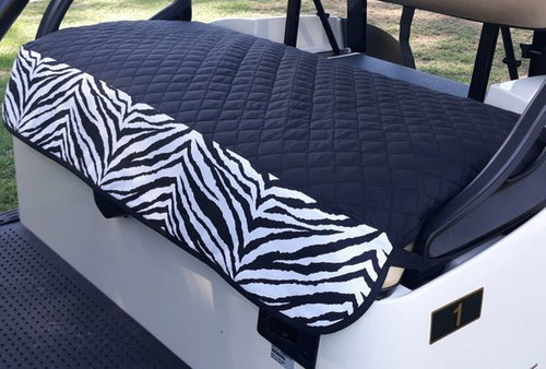 GolfChic: Golf Cart Seat Cover - Black Quilted with B&W Zebra Trim & Black Binding