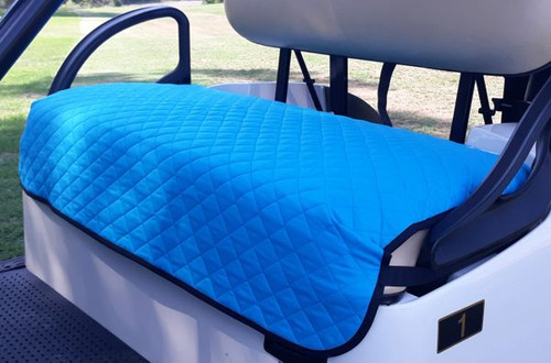 GolfChic: Golf Cart Seat Cover - Turquoise Quilted with Black Binding