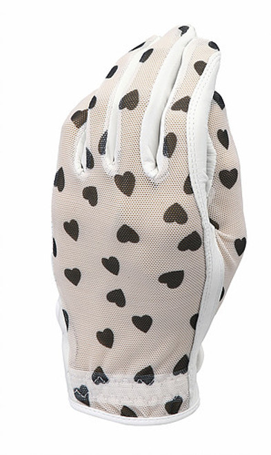 Evertan: Women's Tan Through Golf Glove - Black Hearts