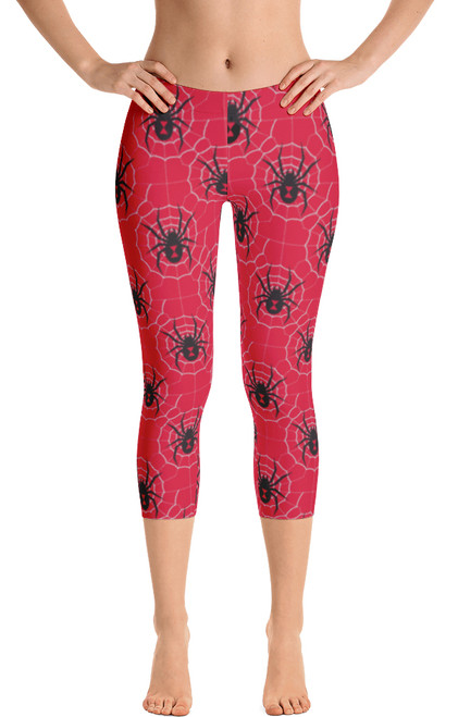 ReadyGOLF: Black Widow Red Women's Capri Leggings