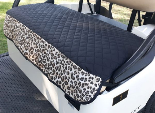 GolfChic: Golf Cart Seat Cover - Black Quilted with Brown Leopard Trim & Black Binding