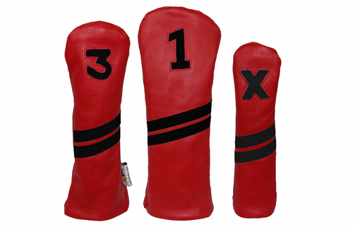 Sunfish: Leather Headcovers Set - Red & Black