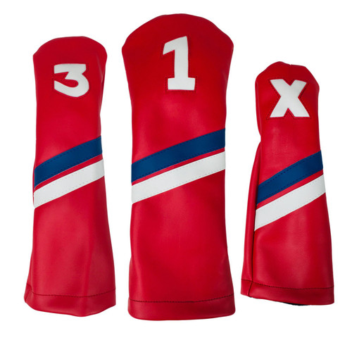 Sunfish: DuraLeather Headcovers Set - Red with Blue & White Stripes
