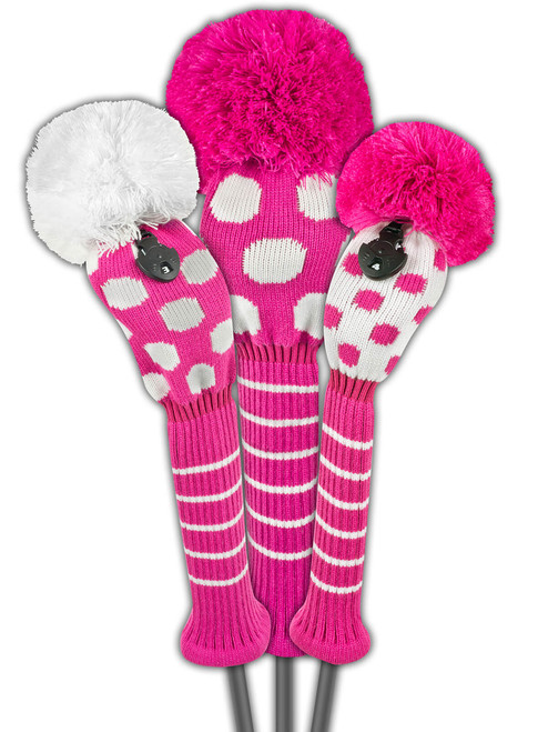 Just 4 Golf: Dot Headcover Set - Pink and White