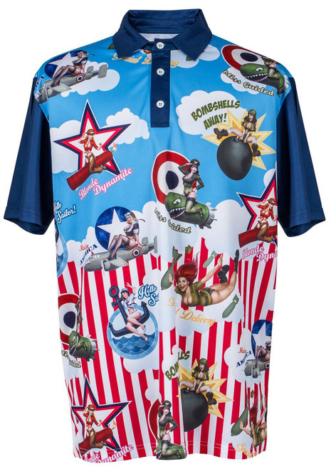 Bombshells Away Mens Pin-Up Golf Polo Shirt by ReadyGOLF